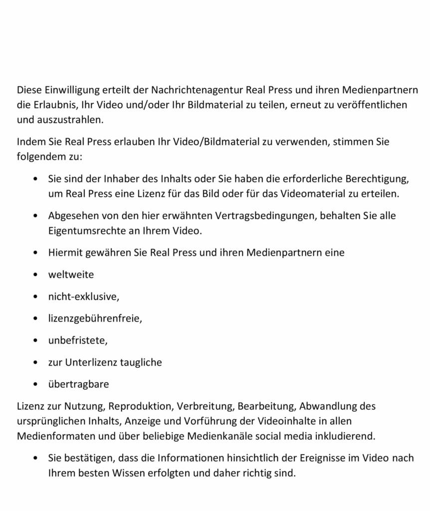 Media use consent agreement (DE)