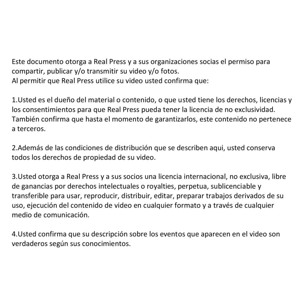 Media use consent agreement (ES)