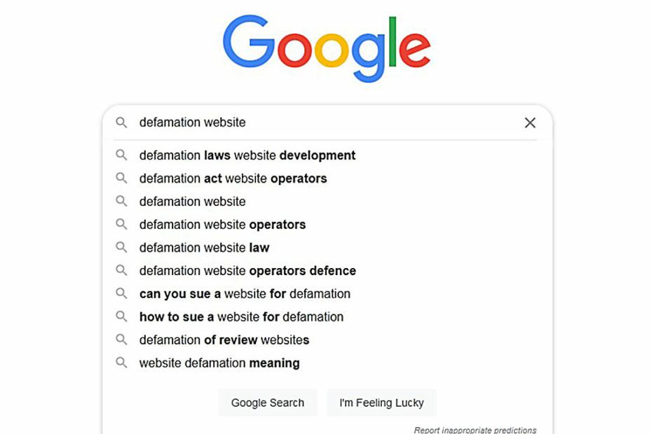 Google's defamation site algorithm